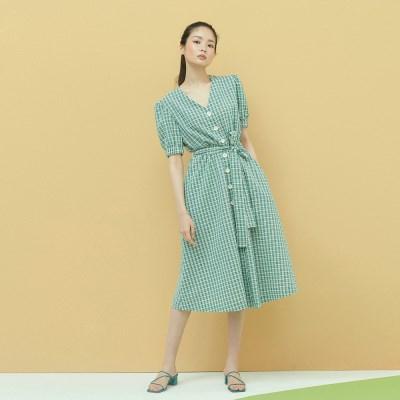 [단독특가] Check Seersucker Dress in Green