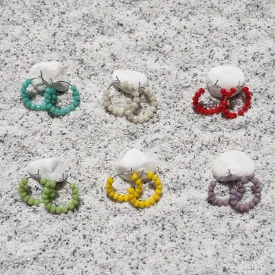 컬러풀 버블 링귀걸이 (6colors)