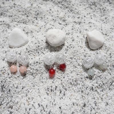 컬러포인트 크랙수정 귀걸이 (3colors)