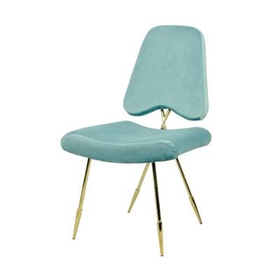 웨어하우스 블루문  벨벳 골드 철제 의자