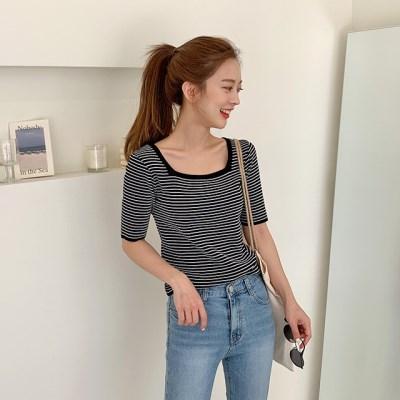 Stripe square-neck knit_S_(1345881)
