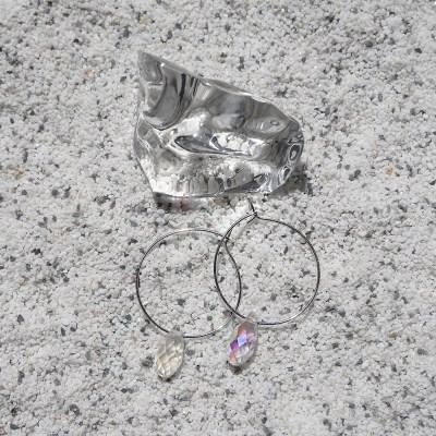 트랜스퍼런트 포인트 후프 귀걸이 (2types)