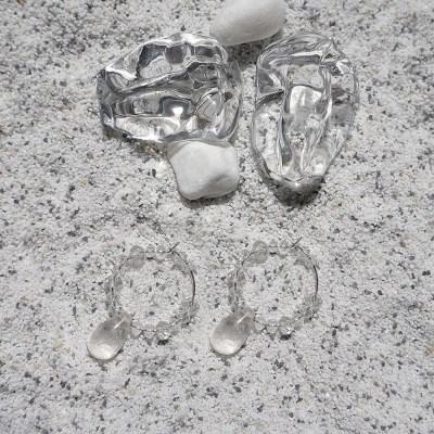 듀 드롭 후프 귀걸이 (2types)
