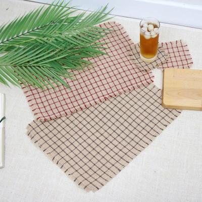 체크 황마 테이블 매트 - 2color