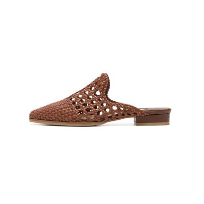 Mesh Loafer Flat Mule Brown_2cm