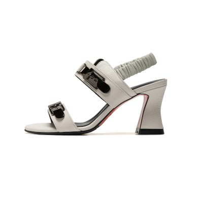 2 bending buckles sandal white lizard_7cm(소가죽)