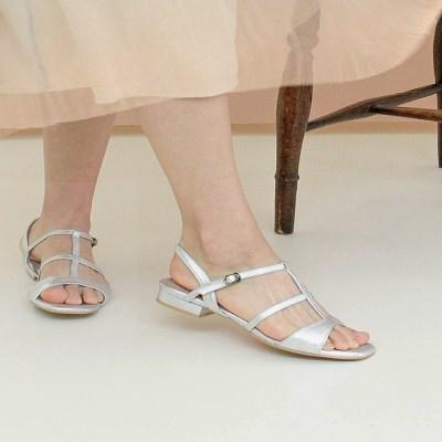 Wave T-strap Flat Sandle silver_2cm(소가죽)