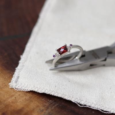 [normaldott] garnet candy silver ring