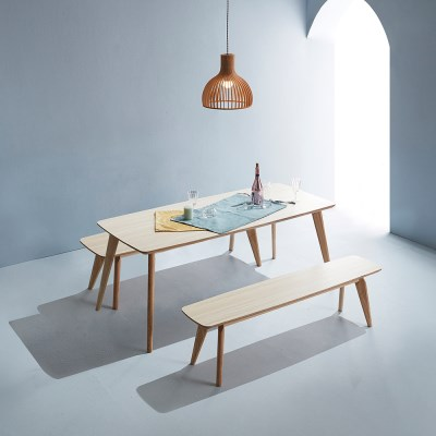 엘르 모던 화이트오크 자작나무 원목식탁 1600 테이블