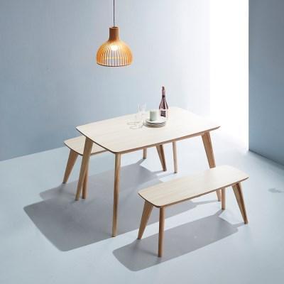 엘르 모던 화이트오크 자작나무 원목식탁 1200 테이블