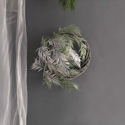 [조화] 네스트 둥지 (L사이즈) - 그린 야자 리스