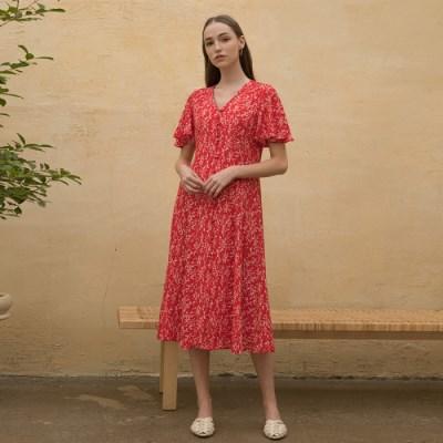 [클렛]FLORAL ROBE DRESS RED