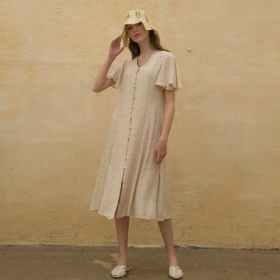 [클렛]FLORAL ROBE DRESS IVORY