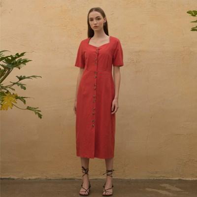 [클렛]LINEN HEART NECK DRESS RED
