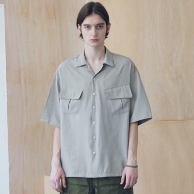 매스노운 SL 로고 지그재그 투 포켓 반팔 셔츠 MSNST004-BG