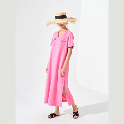 TILDA LONG DRESS (HOT PINK/ BLACK)