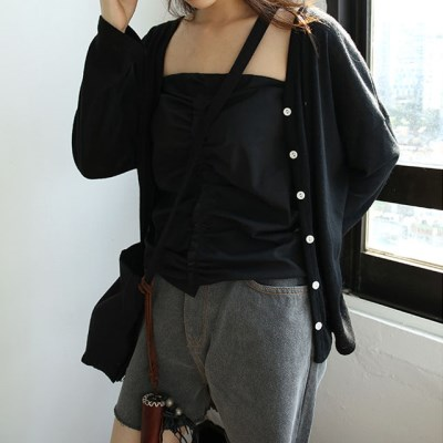 side slit feminine neck cardigan (black)_(1284761)