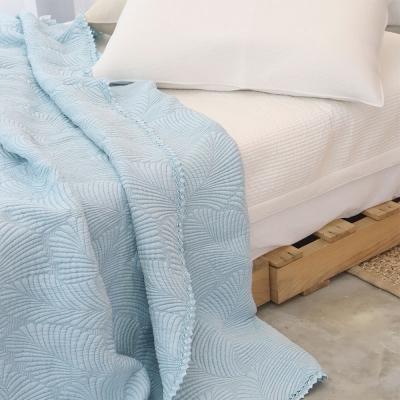 레이스누빔 풍기인견 삼중직 여름이불 겸 패드 - 블루