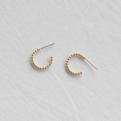 ball line ring earrings (2colors) 小