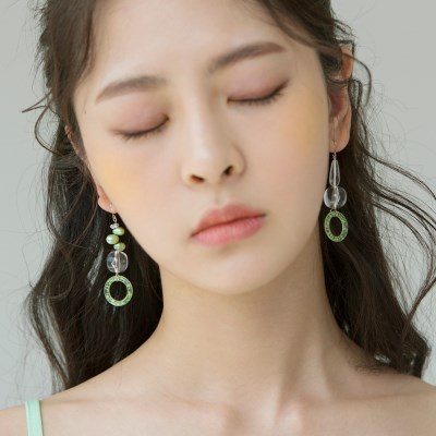 yellow green unbal earrings