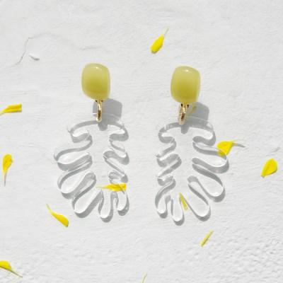 yellow seaweed earrings