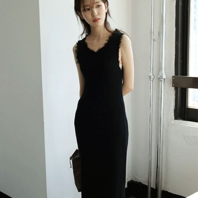 golgi damaged slim dress (black)_(1285418)