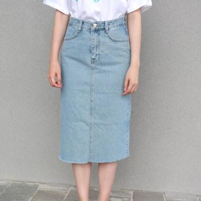 Denim slit skirt