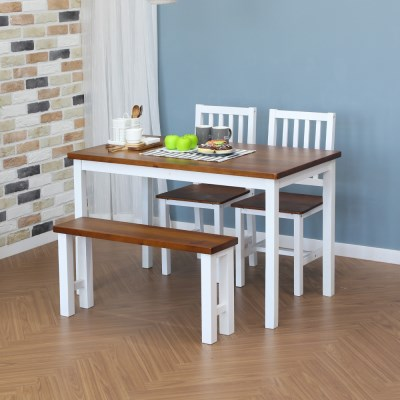 [리코베로]비앙꼬 북유럽풍 원목 4인 식탁세트 식탁+벤치+의자2