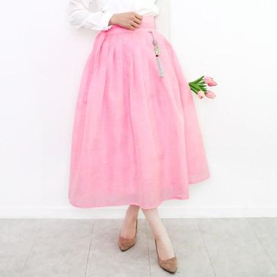 투톤슬라브허리치마(핑크)