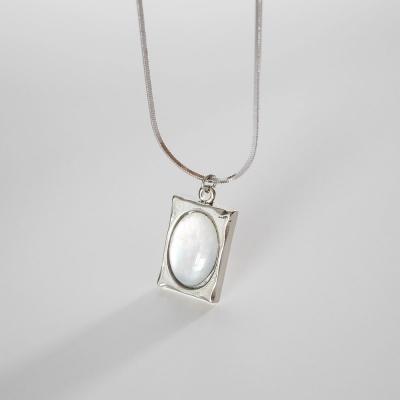 프레임 자개 목걸이 frame shell necklace