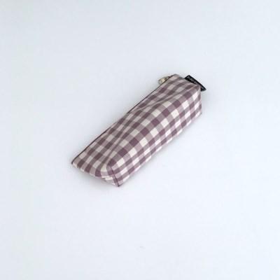 보라 체크 필통(Purple check pencil case)