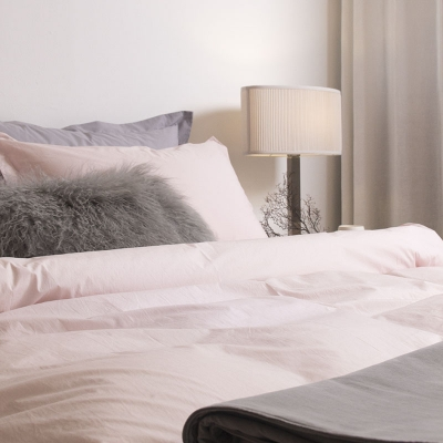 80s Soft Washing Two Tone Cotton Bedding Set_pink & gray_S/SS