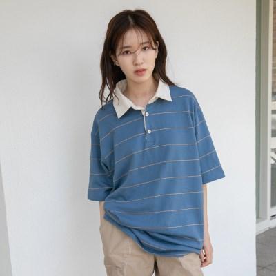 [치즈달] 박시 핏 스트라이프 칼라 티셔츠