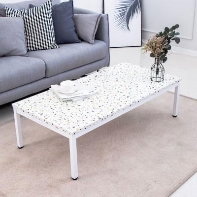 테라조 스틸 1200 화이트 좌식 테이블/좌탁/소파테이블