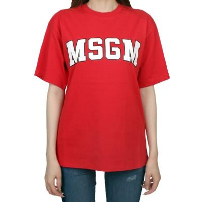 19FW MSGM 로고 티셔츠 (레드/여성) 2741MDM62 797 18