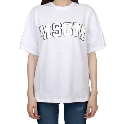 19FW MSGM 로고 티셔츠 (화이트/여성) 2741MDM62 797 01