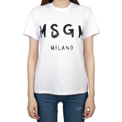19FW MSGM 필기체 로고 티셔츠 (화이트/여성) 2741MDM60 797 01