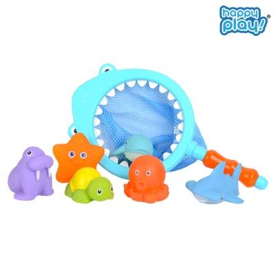 해피플레이 바다친구들과 목욕놀이 아기 물놀이 뜰채 장난감