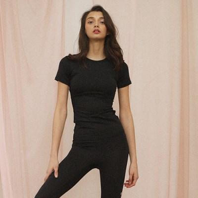 여성 요가복 DEVI-T0017-블랙 필라테스 티셔츠 반팔 라운드넥