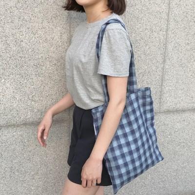 Linen summer navy blue bag. (hand made)