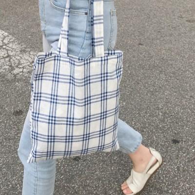 Linen summer blue bag. (hand made)