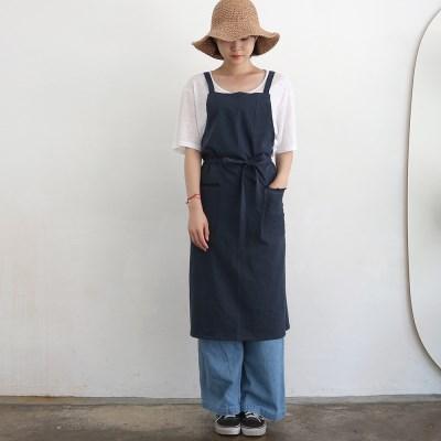 linen twill apron _ navy