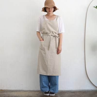 linen twill apron _ natural
