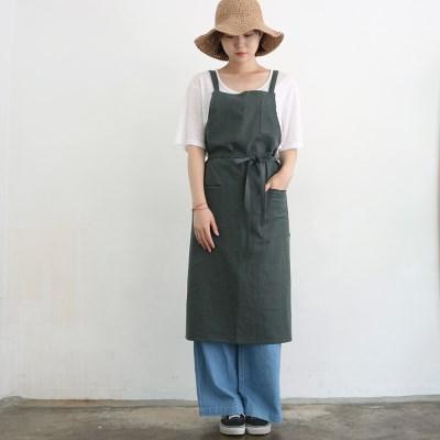linen twill apron _ deep green