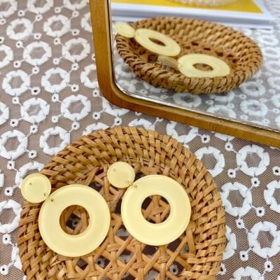 파인애플 아크릴 도넛 드롭 귀걸이