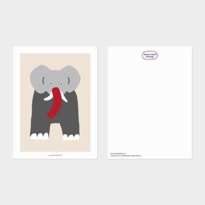 [카멜앤오아시스] Twins - Beige 코끼리 일러스트 엽서