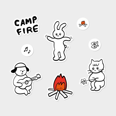 [카멜앤오아시스] Camp Fire 스티커 8종 세트