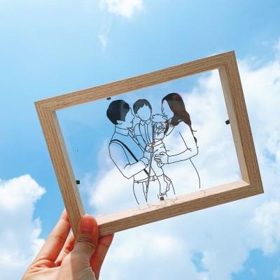 (너나들이) 드로잉 아크릴 유리액자_ 커플 결혼선물