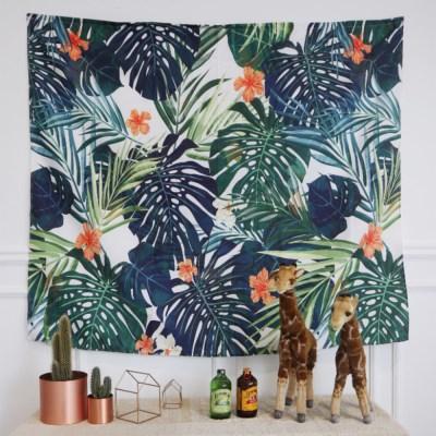 정글에핀오렌지꽃 150x130cm 대형 패브릭포스터 태피스트리