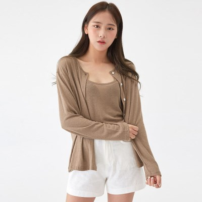 linen basic cardigan set_(1297591)